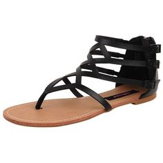 Dollhouse Athens Sandal ($16) ❤ liked on Polyvore featuring shoes, sandals, flats, sapatos, black, sandals - flat, women, black flat sandals, black thong sandals and black shoes