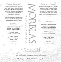 For your firm's Christmas lunch - come to Morblas Seafood and Grill for a five-course festive buffet. If lunch is not what you're after, join us for Dinner and a Dance! Call 0141 204 5506 for reservations in our restaurant this Christmas.
