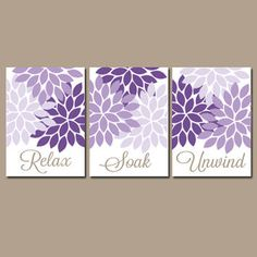 Purple Bathroom Wall Decor Beautiful Bathroom Wall Art Canvas or Prints Purple From Trm Design Bathroom Wall Decor, Bathroom Colors, Wall Art Decor, Bathroom Ideas, Rental Bathroom, Purple Wall Decor, Bathroom Hacks, Bathroom Curtains, Bath Ideas