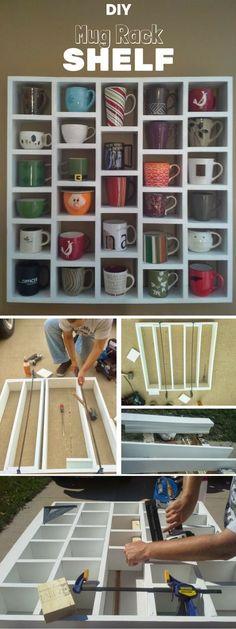 Check out the tutorial on how to make #DIY Mug Rack Shelf #HomeDecorIdeas #Storage @istandarddesign