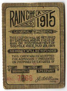 1915 Indianapolis 500 ticket by indianapolismotorspeedway.com, via Flickr