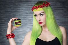 Nea Dune and Agyness Frozen collaborated for this gorgeous #ManicPanic photo. Use #ElectricLizard mixed with #ElectricBanana for a neon lemon #yellow #hair #color, but make sure your hair is a level 9 or 10 #blonde before dyeing. For a potent #scarlet #lip like this, use our #LethalLipstick in #Marilyn.