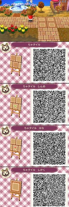 Animal Crossing New Leaf QR codes honey pathways. I don't play New Leaf, but I'll pin this just for fun. Animal Games, My Animal, Acnl Pfade, Acnl Qr Code Sol, Qr Code Animal Crossing, Acnl Paths, Theme Nature, Leaf Animals, Motif Acnl