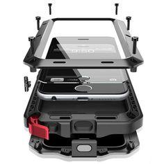 Luxury doom armor Dirt Shock Waterproof Metal Aluminum cell phone case For iphone 7 SE 4S 5 5C 5S 6 6S Plus case +Tempered glass купить на AliExpress
