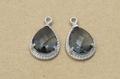 10.50 Silver Night Charcoal Glass Pendant, Supplies, Polished Rhodium Plated Over Brass - 2 Pieces-[SGP0001]-SNCHARCOAL/PR