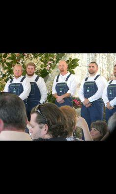 Groomsmen in overalls