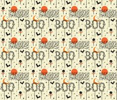 Boo Trees fabric by Skelly Chic on Spoonflower; available now!
