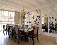 Do what you can the night before. The owners of this San Francisco home designed by Orlando Diaz-Azcuy often host dinner parties for 30, so they set the table the night before to cut down on stress. The walnut table and leather-upholstered dining chairs were designed by ODA Design Associates.