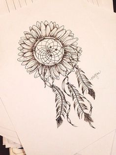 I want this just like this but have the feathers be more full and have one of the outer feathers unfold to become birds flying off. At this feather with the birds have it say follow your dreams. On the other side of the sunflower have it says there's still hope.