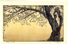 Toshi Yoshida Japanese Woodblock Print Cherry Blossoms 1970