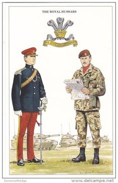 The Royal Hussars (Prince of Wales's Own), Lieutenant / Orderly Officer and Corporal, c 1990. A 1970 amalgamation of the 10th and 11th Hussars.