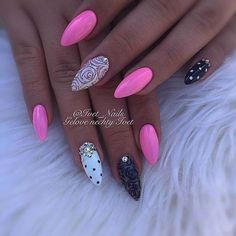 Cghjbfgbzjhjfmkjjjjjj Gorgeous Nails, Love Nails, Pretty Nails, My Nails, Pink Black Nails, Pink Nail Art, Nail Polish Designs, Nail Art Designs, Manicure Y Pedicure