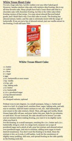 White Texas Sheet Cake  http://rachelleunderwood.blogspot.com/