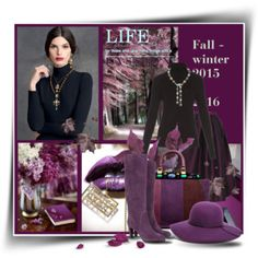 A fashion look from September 2015 featuring layered tops, Dolce&Gabbana and purple skirt. Chaumet, Fall Winter 2015, Sergio Rossi, Streetwear Brands, Catwalk, Tory Burch, Luxury Fashion, Polyvore, Inspiration