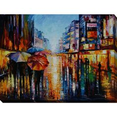Picture Perfect International Leonid Afremov 'Night Umbrellas' Giclee... ($203) ❤ liked on Polyvore featuring home, home decor, wall art, canvas home decor, giclee wall art, colorful home decor, abstract wall art and abstract home decor
