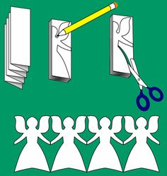 How to Make Paper Angel Chains, step-by-step tutorial by Aunt Annie´s Craft Paper Doll Chain, Paper Chains, Paper Dolls, Christmas Paper, Christmas Angels, Christmas Holidays, Christmas Decorations, Birthday Decorations, Angel Crafts