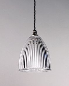 Large ribbed glass pendant light with cotton twist flex cord. This industrial style prismatic light makes a perfect kitchen or cafe light. It is one from a large collection at Fritz Fryer. Matching spot lights and swan neck wall lights available. Bedside Pendant Lights, Diy Pendant Light, Rustic Pendant Lighting, Pendant Lamp, High Ceiling Lighting, Strip Lighting, Ceiling Lights, Lighting Ideas, Dining Light Fixtures