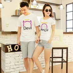$18.36 Free Shipping-Xin Yu Fashion new cartoon printed short sleeve casual cotton devil angel lovers fertilizer XL T-shirt