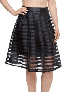 A-Line Skirt with Shadow Stripe Overlay - 3406069391004