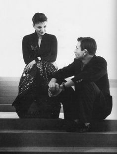 Judy Garland and James Mason on the set of 'A Star is Born'.