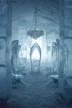 The Ice Hotel in Jukkasjärvi, Sweden. What better place to say forever than a transient, ephemeral art project of ice and snow? Embrace those depressing odds! Make them yours! #LELOBridal #wedding