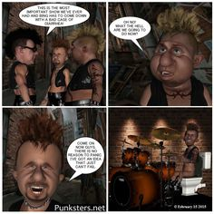 The Punksters.net Punk Rock Comic Strip Number 4: Hey, when ya gotta go, ya gotta go. Even when your band is playing a gig. A toilet behind the drum kit might just do the trick though.  #comic #band #toilet #potty #drums