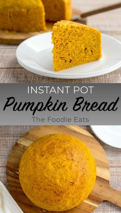 Instant Pot Pumpkin Bread - This bread is easily made from scratch and is moist, rich, and full of fall flavors. Perfect served with a cup of coffee or glass of milk! Instant Pot Pressure Cooker, Pressure Cooker Recipes, Pressure Cooking, Slow Cooker, Pumpkin Recipes, Fall Recipes, Ninja Recipes, Holiday Recipes, Instant Pot Dinner Recipes