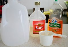 4 cups Water 1 cup Dish Soap – we had Palmolive, but I've seen Ajax, Joy, Dawn used. 1/4 cup Corn Syrup container – plastic tub, gallon j...