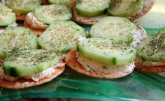 Cucumber and Cream Cheese Appetizers from Food.com:   								This is so quick and easy. People can't stop eating them.