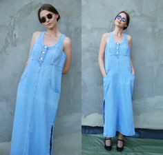 8feed3ef8c Vintage Plus Size1990s Button Zipper Light Blue Maxi Denim Dress   Jean  Sleeveless Front Normcore Shirt Soft Grunge 90s women clothing Size