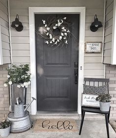 47 Rustic Farmhouse Porch Decorating Ideas to Show Off This Season Personalized Address Number Sign, Home decor, Rustic decor, Farmhouse decor Front Door Entrance, Entrance Decor, Front Door Decor, Entrance Design, Front Entry, Front Porch Decorations, Front Door Porch, Balcony Decoration, Side Porch