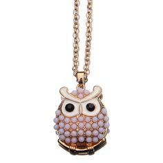 Cute Alloy Chain Owl Shape Design Oil Drip Pendant Women Ladies Jewelry Necklace