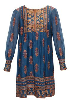 Payal Pratap Indigo cross stitch embroidered tunic $275
