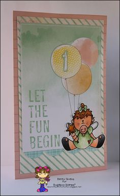 First birthday card for a girl featuring Bugaboo Stamps Baby  Fairy