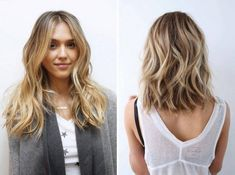 Johnny Ramirez created a beachy bronde with cool tones for the client on the left, while for Jessica Alba& bronde he went for a sophisticated take on the trend by applying the brighter tones primarily to the ends. Cool Hair Color, Hair Colors, Balayage Blond, Haircut Styles, Mi Long, Hair Videos, New Hair, Hair Inspiration, Curly Hair Styles