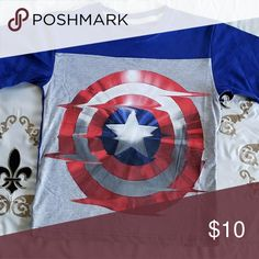NWOT Captain America Shirt, Size 8 Captain America shield shirt  Size: 8  Color: Gray, Red, White, Blue  Condition: New without tags (Not Used)   **Bundle & Save**  *Same day shipping available* Marvel Shirts & Tops Tees - Short Sleeve