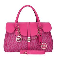 Michael Kors Chain Logo Signature Large Pink Satchels
