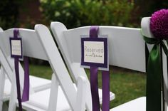 Modern Green Ivory Purple Silver Garden Outdoor Ceremony Place cards Ribbon Spring Summer Wedding Ceremony Photos & Pictures - WeddingWire.com