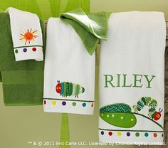 I love the Eric Carle Bath Towels on potterybarnkids.com.  We houden t thema nog even aan ;)!