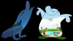 43 - PIXAR 07 - Como el día y la noche, así son los personajes de este corto de Pixar que se emitió antes de Toy Story 3. Día es un personaje animado, de buen humor, con energía y contento. Dentro de él, un sol brillante que emite buenas radiaciones. Noche sin embargo tiene dentro una luna y un campo solitario. Porque por la noche, todo suele estar vacío... Las imágenes que iremos viendo dentro de nuestros personajes nos muestran sus estados de ánimo.