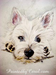 Impresión de West Highland White Terrier - Westie acuarela pintura arte impresión, decoración de la pared, decoración del hogar
