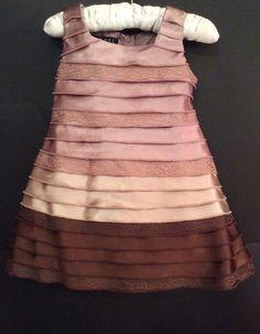 9M Boutique Baby Biscotti Collezioni Formal Sleeveless Dress Tiered Brown Bronze #Biscotti #DressyHolidayPageantWedding