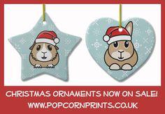 Guinea Pig & Bunny Christmas Tree Ornaments! www.zazzle.co.uk/popcornprints*/