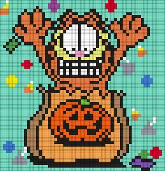 Garfield In A Halloween Treat Bag Perler Bead Pattern | Bead Sprites | Holidays Fuse Bead Patterns