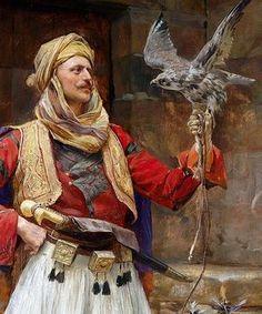 marcuscrassus: Paja Jovanović - The Falconer century) Traditional Paintings, Traditional Art, Arabian Art, Islamic Paintings, Classical Art, Islamic Art, Indian Art, Art History, Character Art