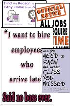 Poster Set #S6- Improve Student Attendance Posters, Set of 4 - Youth Change, http://www.youthchg.com. Free samples and magazine on site. Stop hassling student attedance and tardiness. Put these awesome posters on the job.