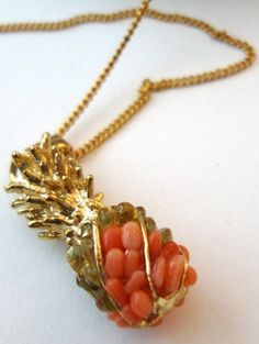 pineapple + coral [gold necklace + pendant / charm]