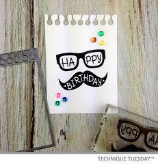 Make him a birthday card or gift tag using these stylish glasses and trendy mustache stamps. Masculine Birthday Cards, Handmade Birthday Cards, Masculine Cards, Handmade Cards, Hipster Birthday, Mustache Birthday, Happy Birthday, Mustache Cards, Scrapbook Cards