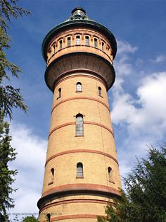Wasserturm Wiesbaden Biebrich  Beautiful Water-Tower in Wiesbaden, Germany.  The restaurant at the top allowed a view over the rhine river and the town of Mainz. Love this tower that I can see from my house