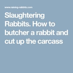Slaughtering Rabbits. How to butcher a rabbit and cut up the carcass